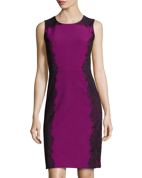 Sleeveless Lace-Detail Sheath Dress, Mulberry/Black
