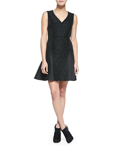 Tibi Worth Sleeveless Embroidered Flare Dress