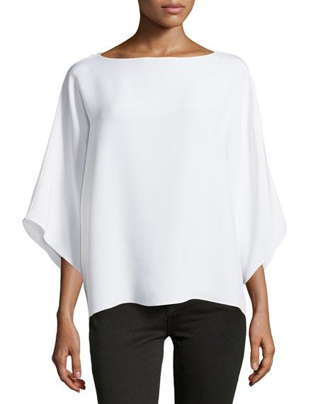 Wide-Neck Kimono Tunic, White