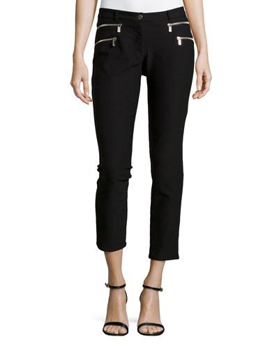Double Zipper Skinny Jeans, Black