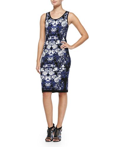 Sleeveless Floral-Knit Tank Dress