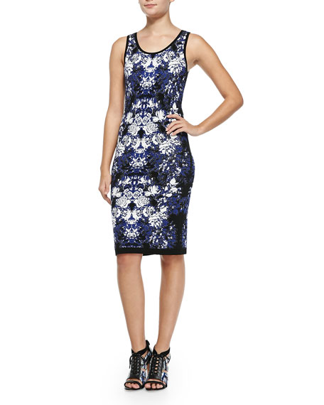 Nicole Miller Artelier Sleeveless Floral-Knit Tank Dress