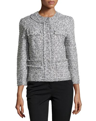 Tweed Collarless 3/4-Sleeve Jacket,