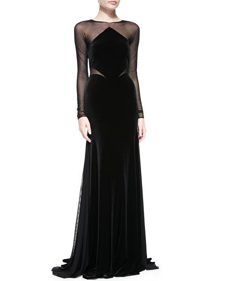 Long-Sleeve Velvet Gown w/ Mesh Bodice