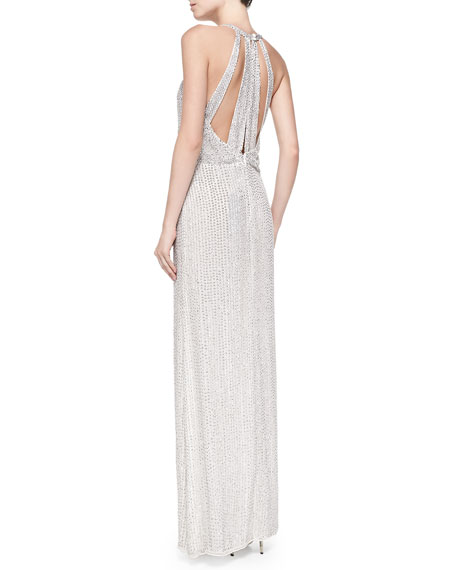 Lita Sequined Halter Blouson Gown
