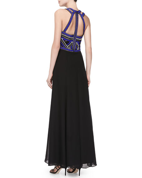 Belize Beaded-Bodice Silk Halter Gown