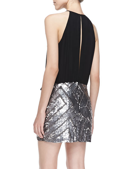 Farrow Halter-Neck Cocktail Dress W/ Sequined Skirt