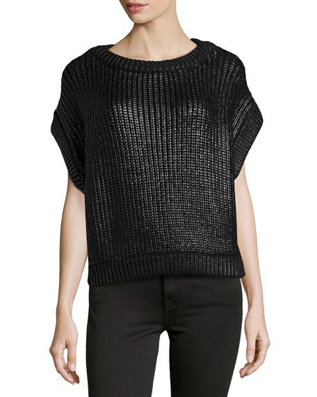 Short-Sleeve Shaker-Knit Popover Sweater, Black