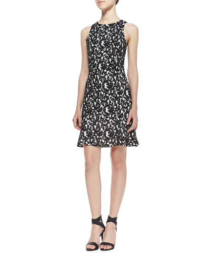 4.collective Bound Lace Contrast Dress, Black/White