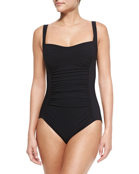 Karla Colletto Square-Neck Underwire Swimsuit with Ruched Center