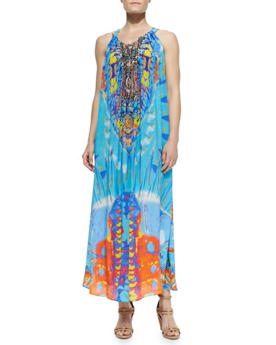 Silk Printed Drawstring Dress, Take My Hand