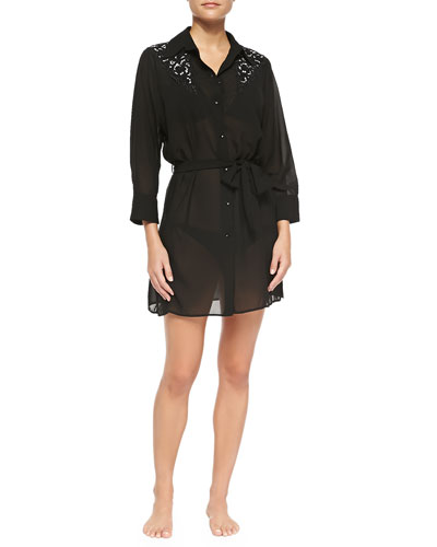 Black Swan Embroidered Shirtdress Coverup