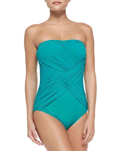 Lattice-Pattern Ruched One-Piece