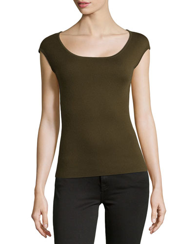 Cashmere Ballet-Neck Shell Top, Olive