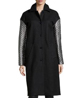 Melton Metallic-Quilted-Sleeve Coat, Black