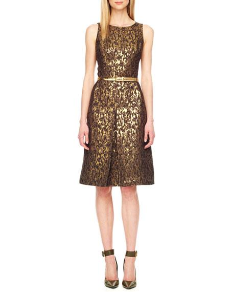 Belted Jacquard Dress