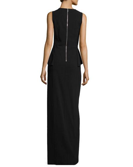 Crepe Cutout Peplum Gown