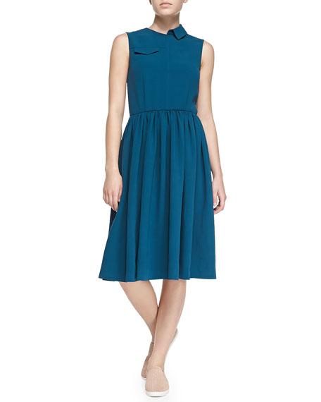 Yumi Crepe Patch-Pocket Dress