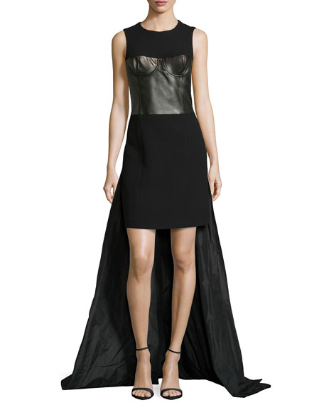 Sleeveless Leather Bustier Parachute Gown