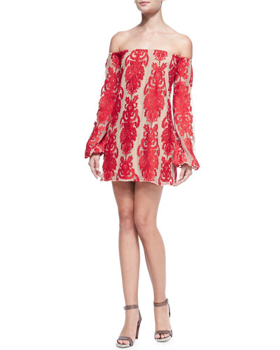For Love & Lemons San Marcos Off-The-Shoulder Lace Dress, Red