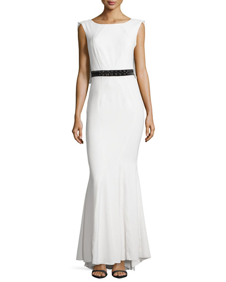 ZAC Zac Posen Beaded-Waist Open-Back Gown