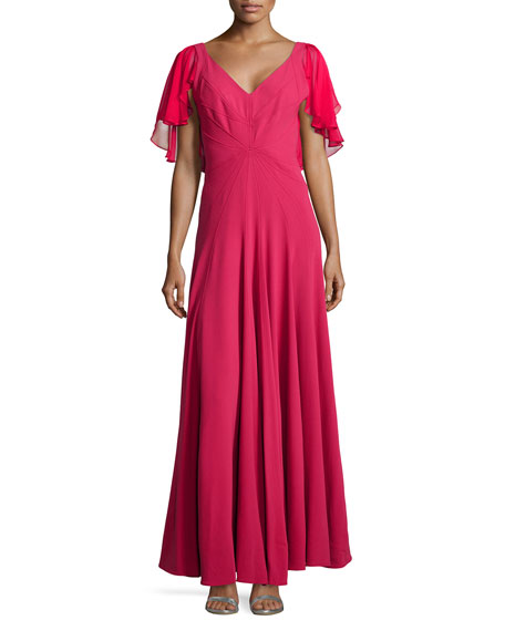 ZAC Zac Posen Flutter-Sleeve Full Gown
