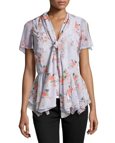 Floral-Print Flutter Tie Blouse, Lilac-Flame