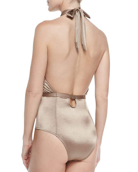 Cabana One-Piece Cross-Halter Swimsuit, Shimmer Nude