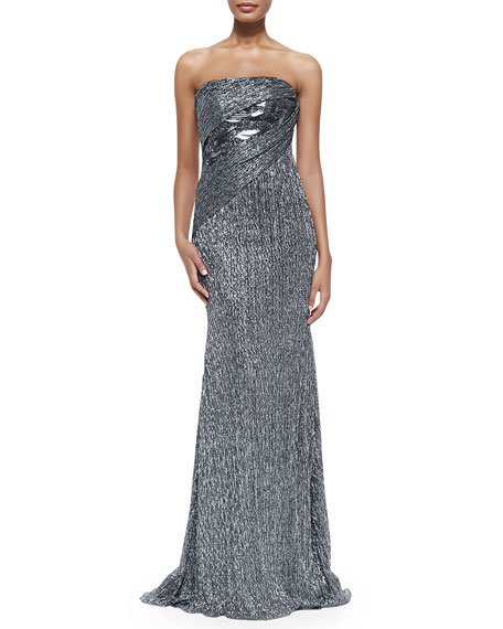 Strapless Metallic Crystal Gown