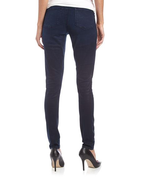 Coated Skinny Twill Jeans, Navy