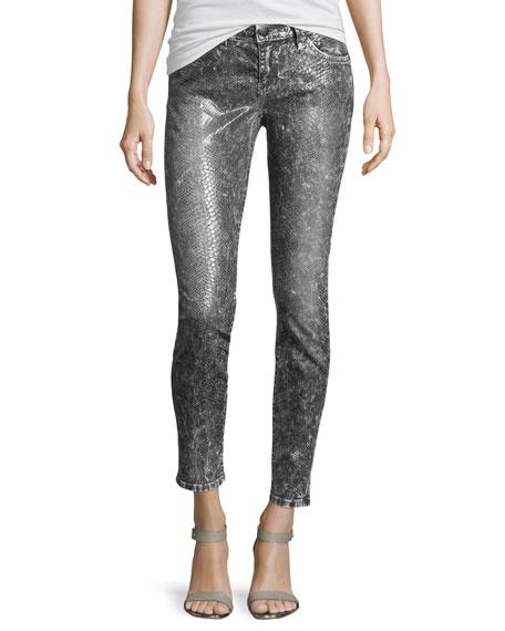 Slim Snake-Print Stretch Jeans, Snakeskin