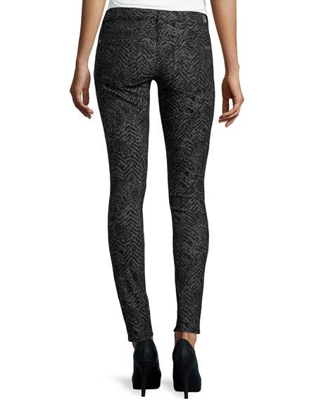 Gwenevere Chevron Skinny Jeans, Black/Gray