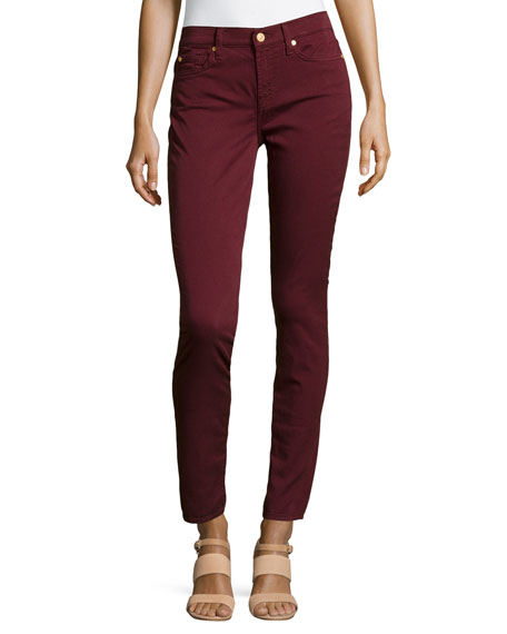 Gwenevere Twill Skinny Jeans, Burgundy
