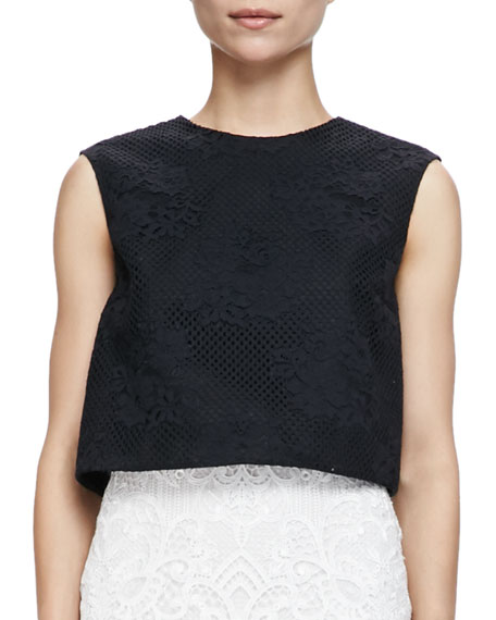 Monique Lhuillier Sleeveless Floral Mesh Crop Shell, Noir