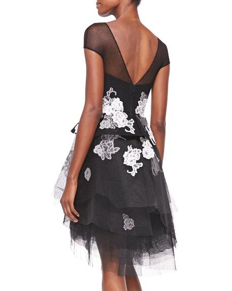 Mesh-Inset Floral-Print Peplum Tulle Dress, Noir/White