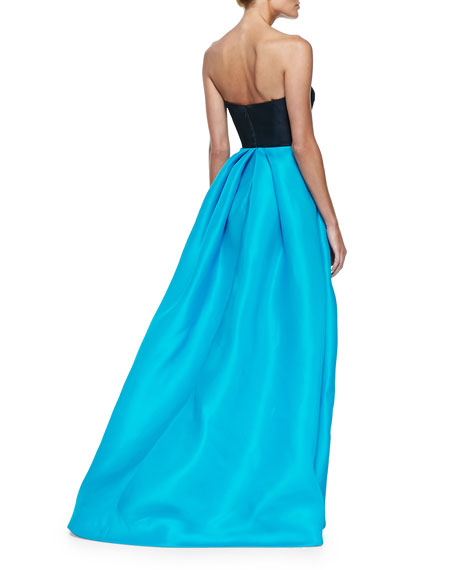 Strapless Colorblock Gazar Gown, Navy/Pool
