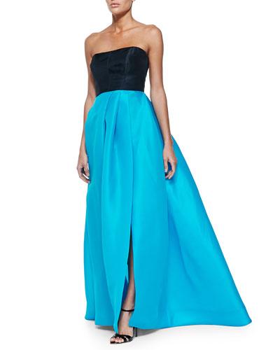 Strapless Colorblock Gazar Gown, Navy/Pool