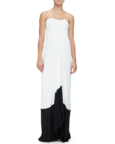 Monique Lhuillier Strapless Accordion-Pleated Gown