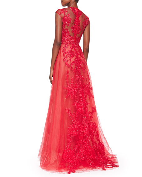 Monique Lhuillier Bead-Embroidered Illusion Tulle Gown, Rouge