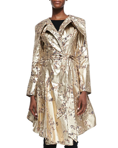 Ocelot-Print Foiled Cotton Trench Coat, Gold