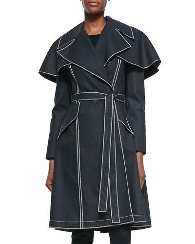 Raincoat with Capelet, Black