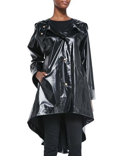 Rubberized Cotton Raincoat, Black