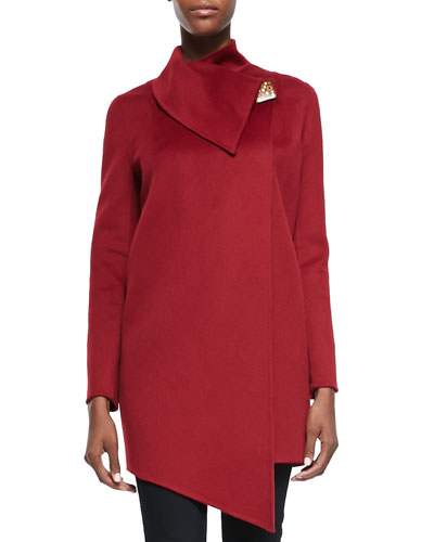 Cashmere Double-Faced Coat with Ceramic Button, Red