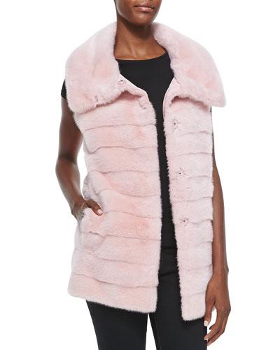 Oscar de la Renta Mink Fur/Rainwear Reversible Vest