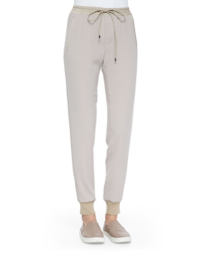 Vince Pull-On Drawstring Jogging Pants, Light Khaki