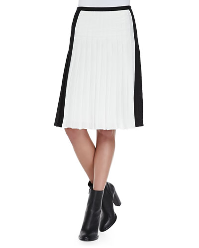 Vince Pleated Georgette Colorblock Skirt
