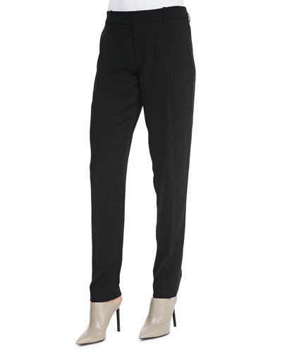 Satin-Striped Tuxedo Trousers, Black