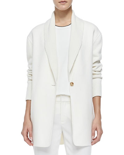 Vince Shawl-Collar Knit Blazer Cardigan, Winter White