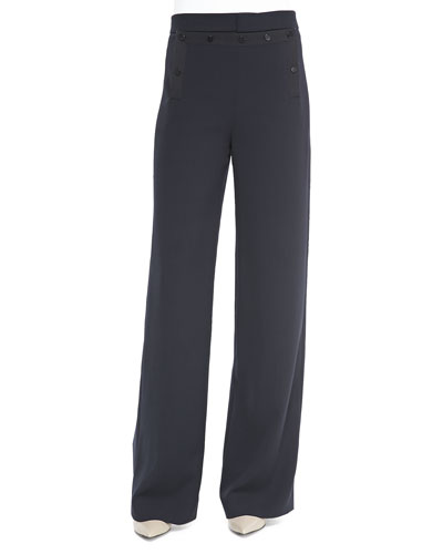 Vince Sailor-Button Wide-Leg Pants, Coastal