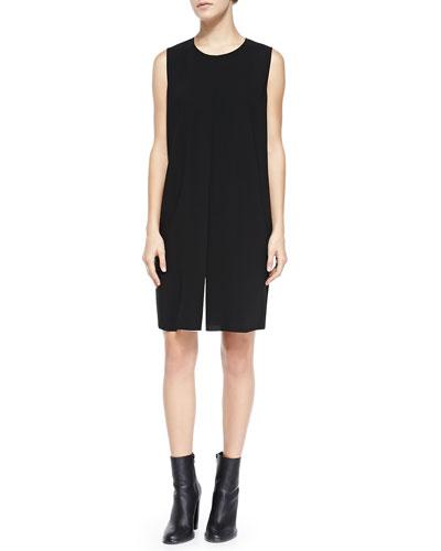 Vince Flyaway-Front Crepe Dress, Black/Ivory
